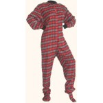 Schlafoverall (Flanell) RED AND BLACK WITH GREY HEARTS mit Po-Klappe