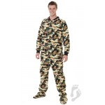Schlafoverall (Fleece) CAMOFORCE GREEN mit Po-Klappe